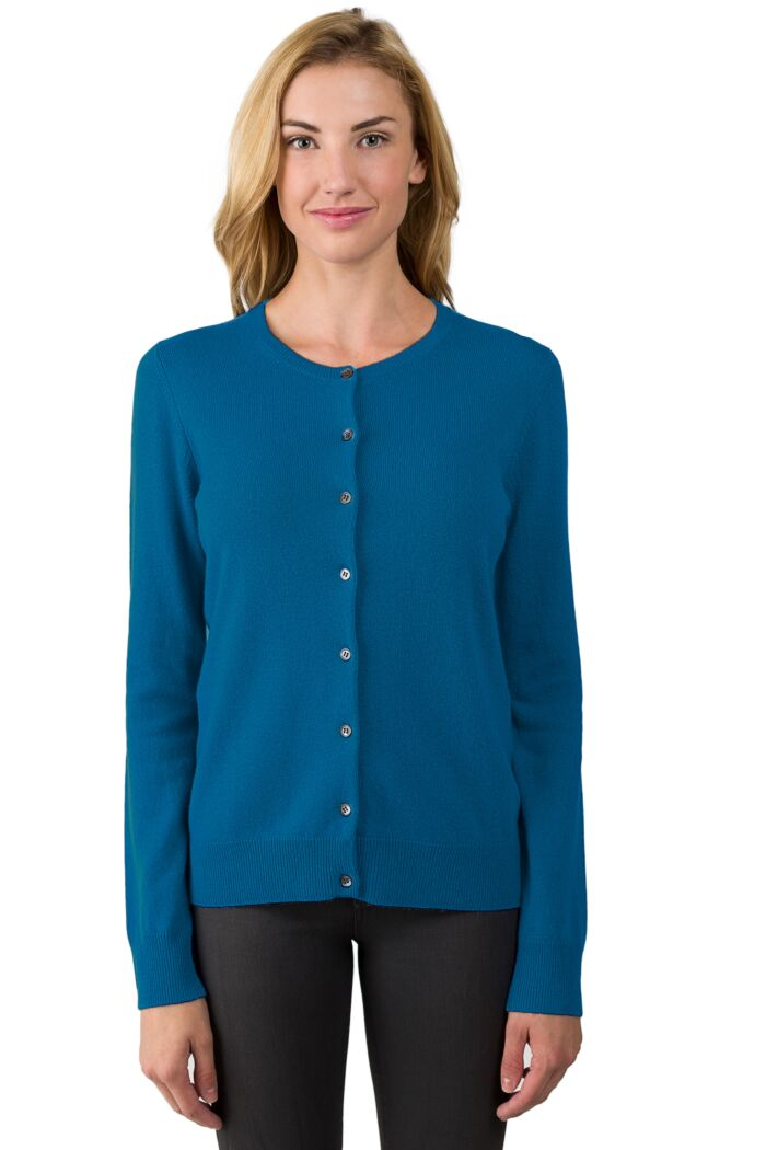 Peacock Cashmere Button Front Cardigan Sweater Front View