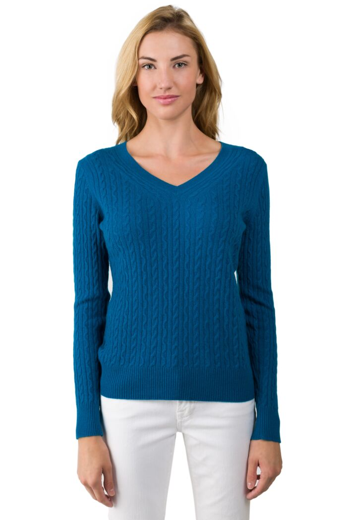 Peacock Blue Cashmere Cable-knit V-neck Sweater front view