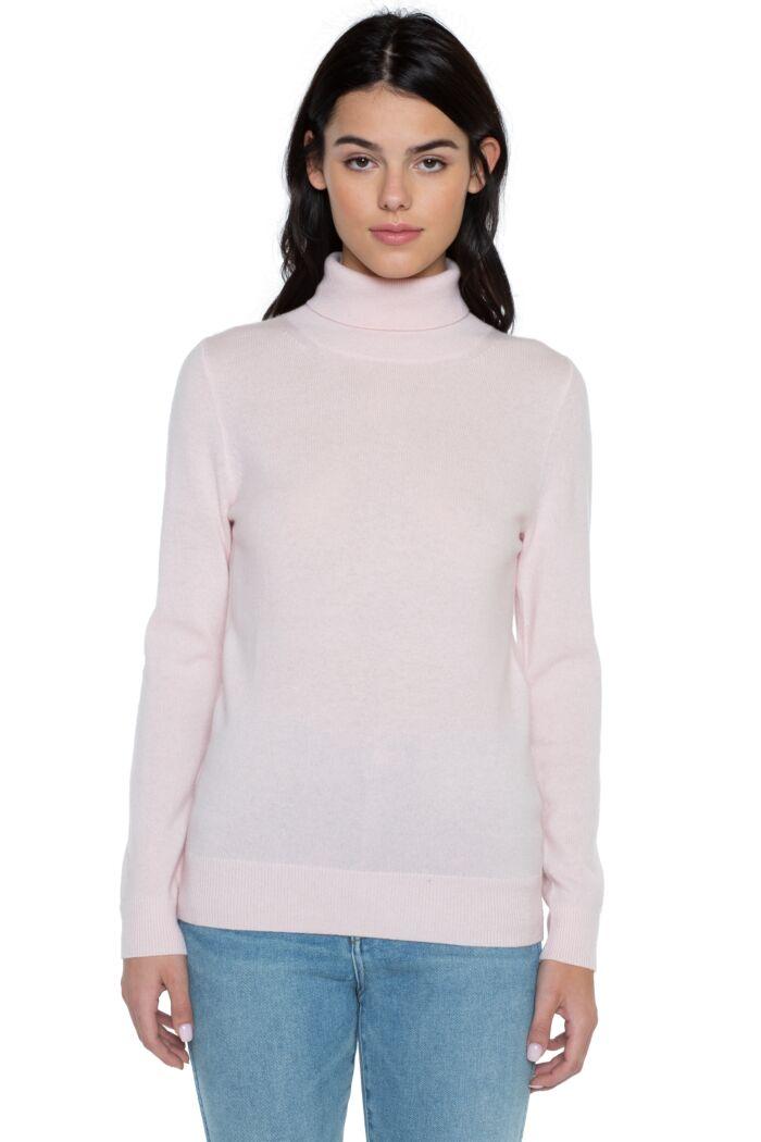 Petal Pink Cashmere Long Sleeve Turtleneck Sweater