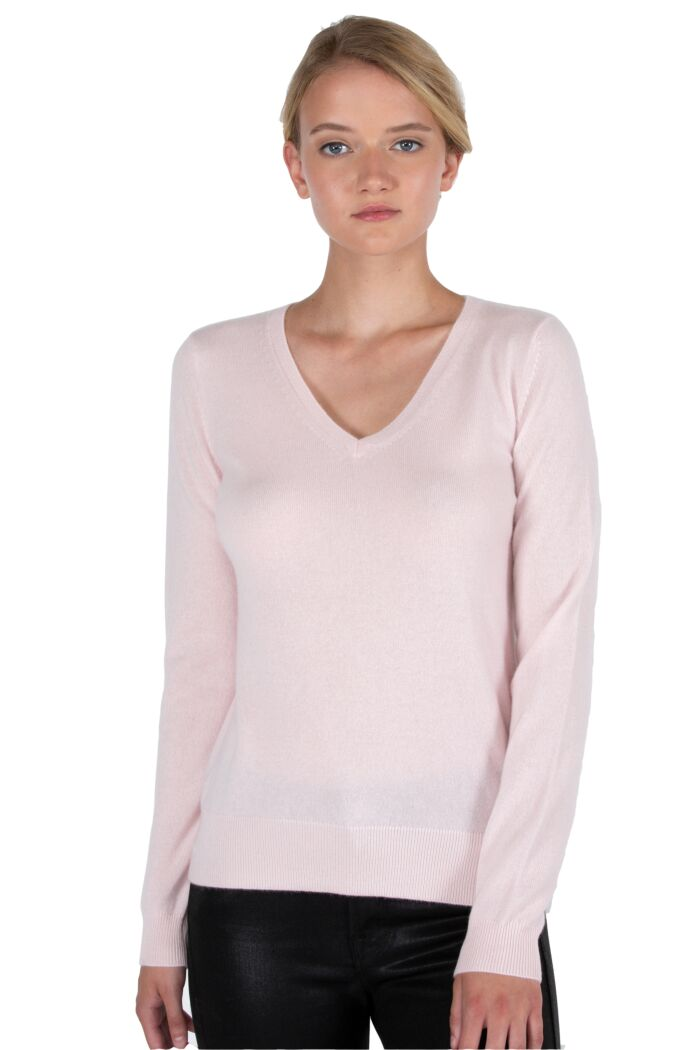 JENNIE LIU Women's 100% Pure Cashmere Long Sleeve Pullover V Neck Sweater(S, Pink Pearl)