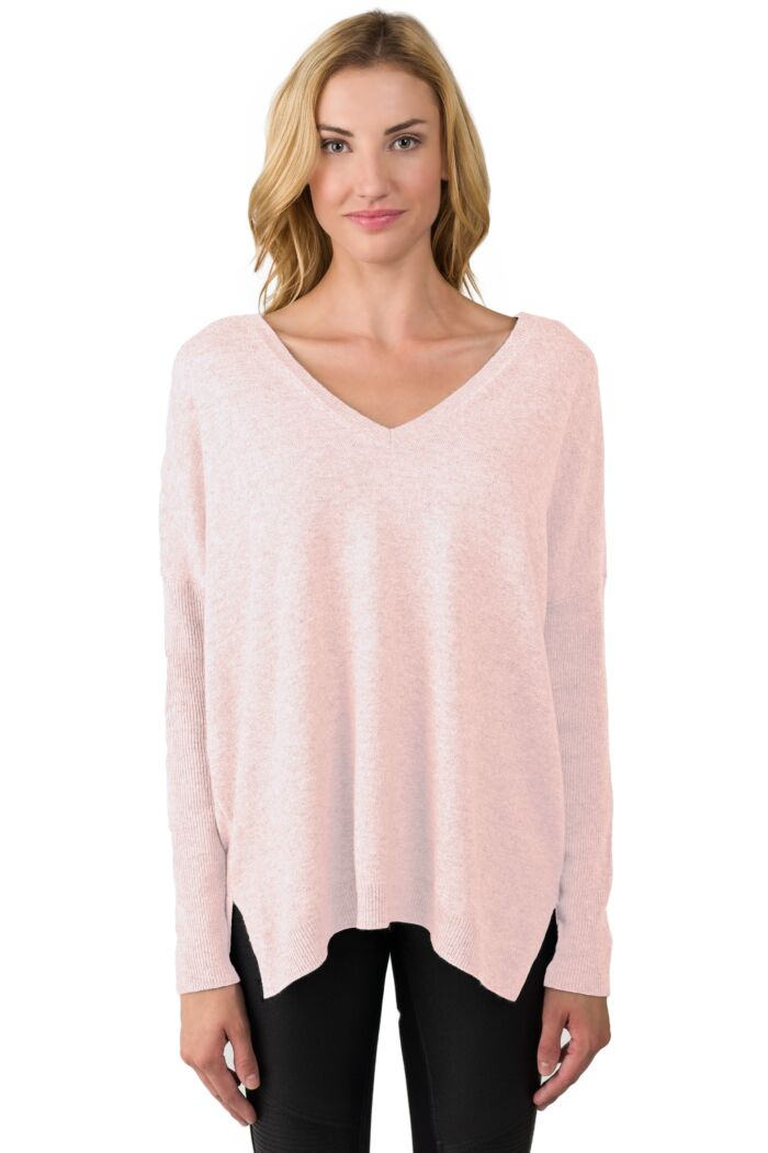 Pink Pearl Cashmere Oversized Double V Dolman Sweater