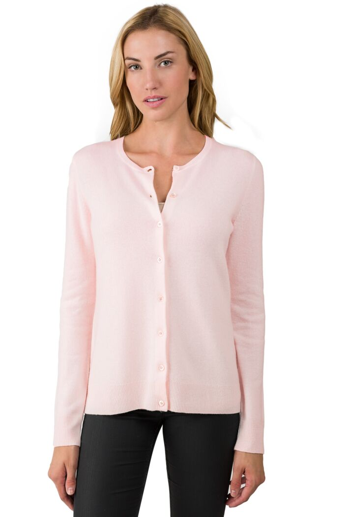 Petal Pink Cashmere Button Front Cardigan Sweater Front View