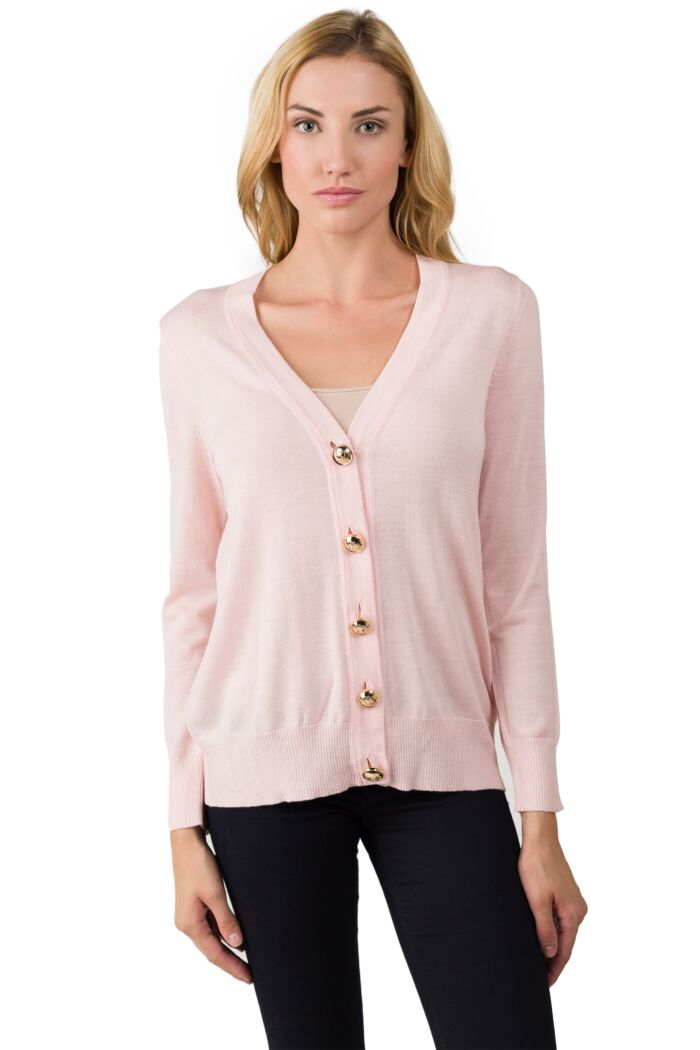 Pink Merino Wool Long Sleeve V Neck Cardigan Sweater Front View