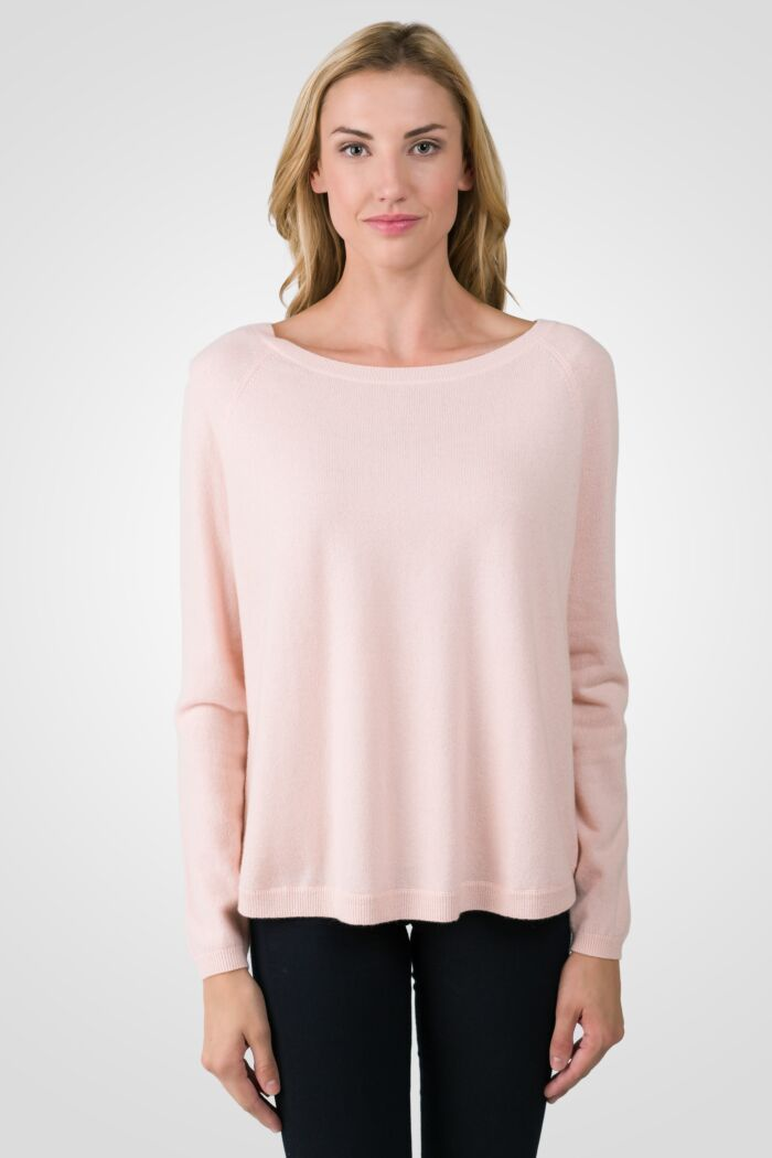 Pink Pearl Cashmere Boatneck Raglan Sweater front view
