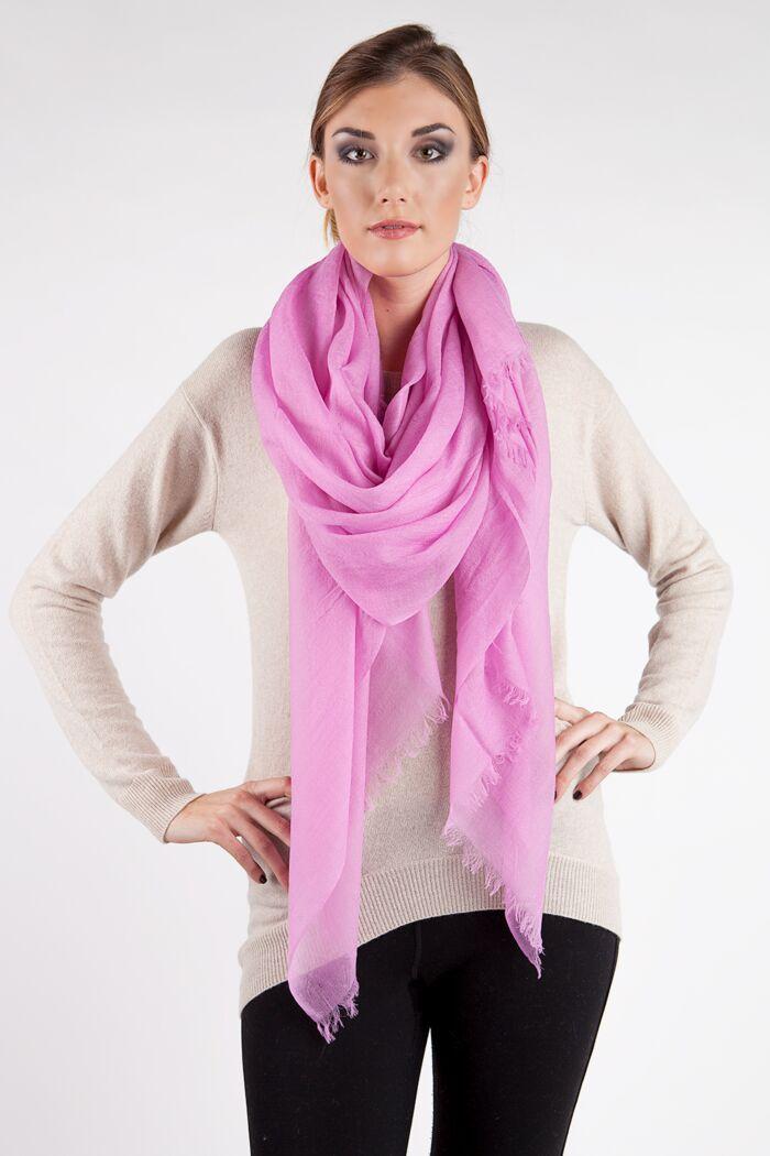 Pink Tissue Weight Air Cashmere Shawl Wrap