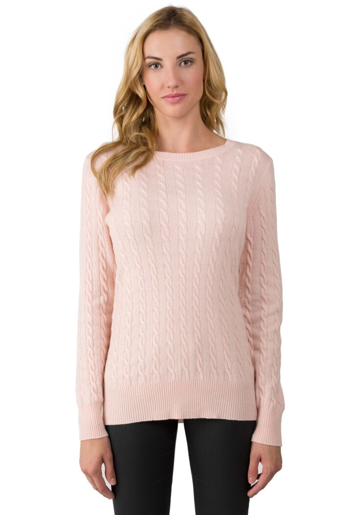 Pink Pearl Cashmere Cable-knit Crewneck Sweater front view
