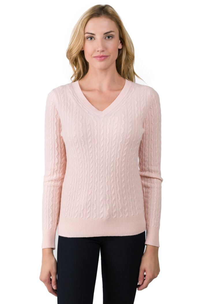Pink Pearl Cashmere Cable-knit V-neck Sweater front view