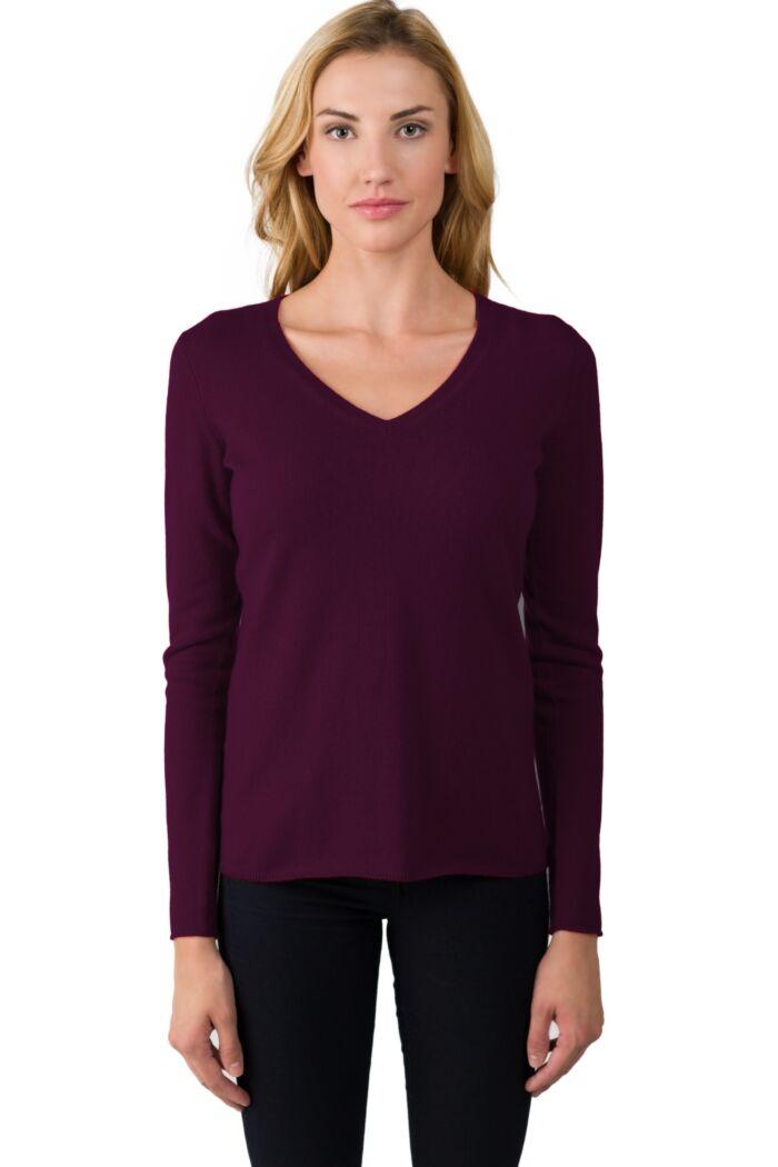 JENNIE LIU Women's 100% Pure Cashmere Long Sleeve Pullover V Neck Sweater(L, Purple)