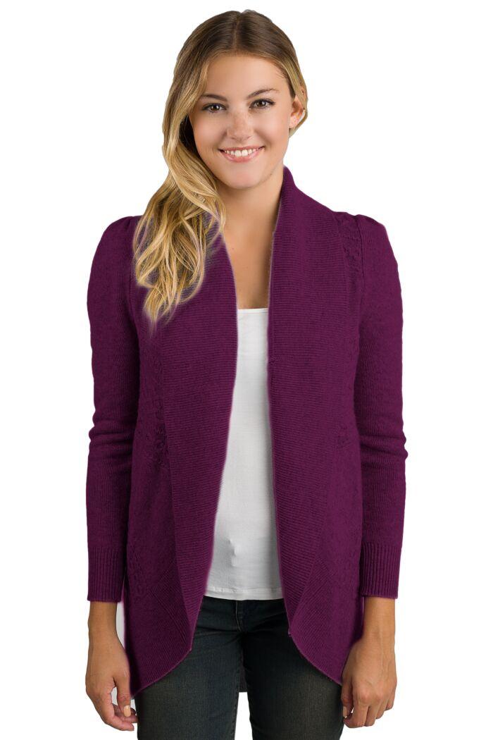Plum Cashmere Celine Cardigan Sweater front view