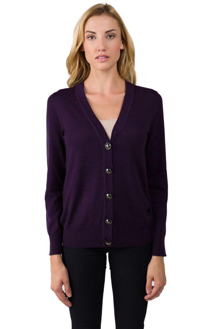 Purple Merino Wool Long Sleeve V Neck Cardigan Sweater Front View