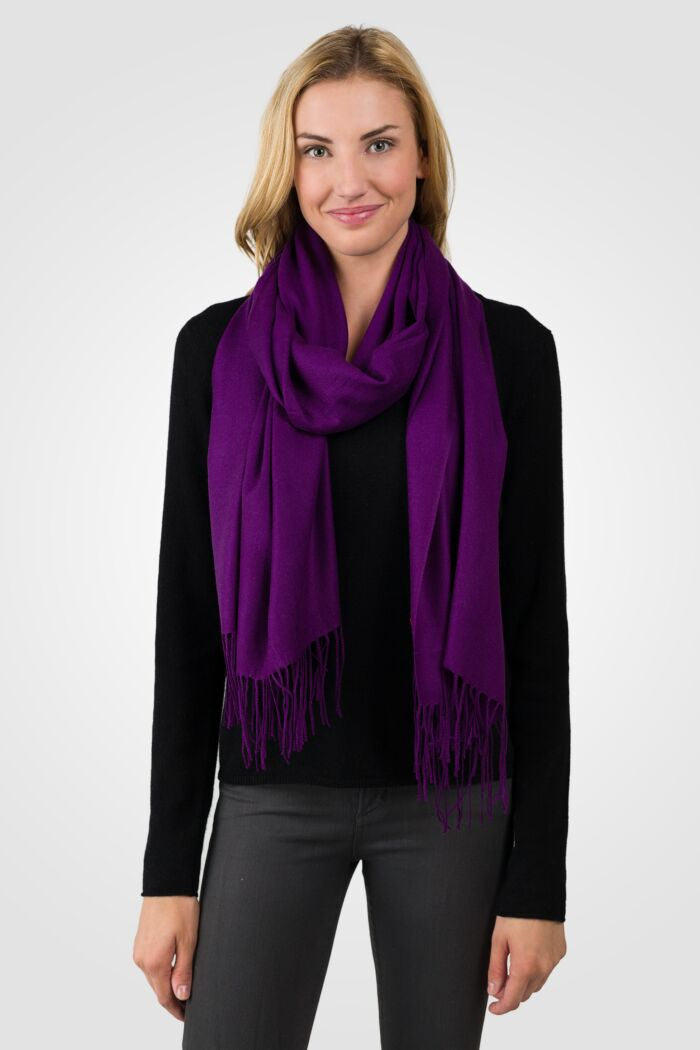 Purple Tissue Weight Wool Cashmere Wrap front view