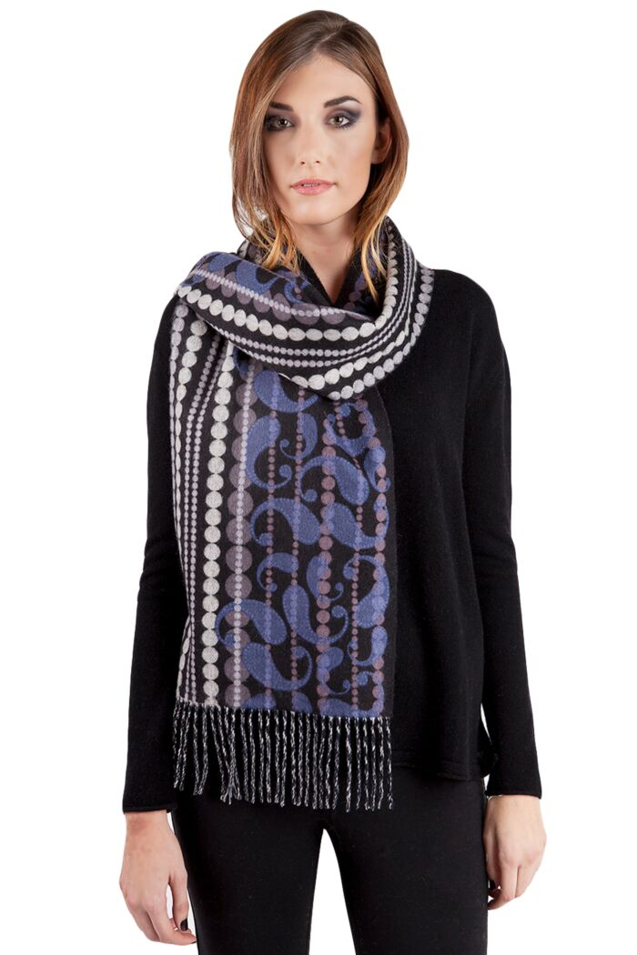 Purple Paisley Printed Woven Cashmere Scarf