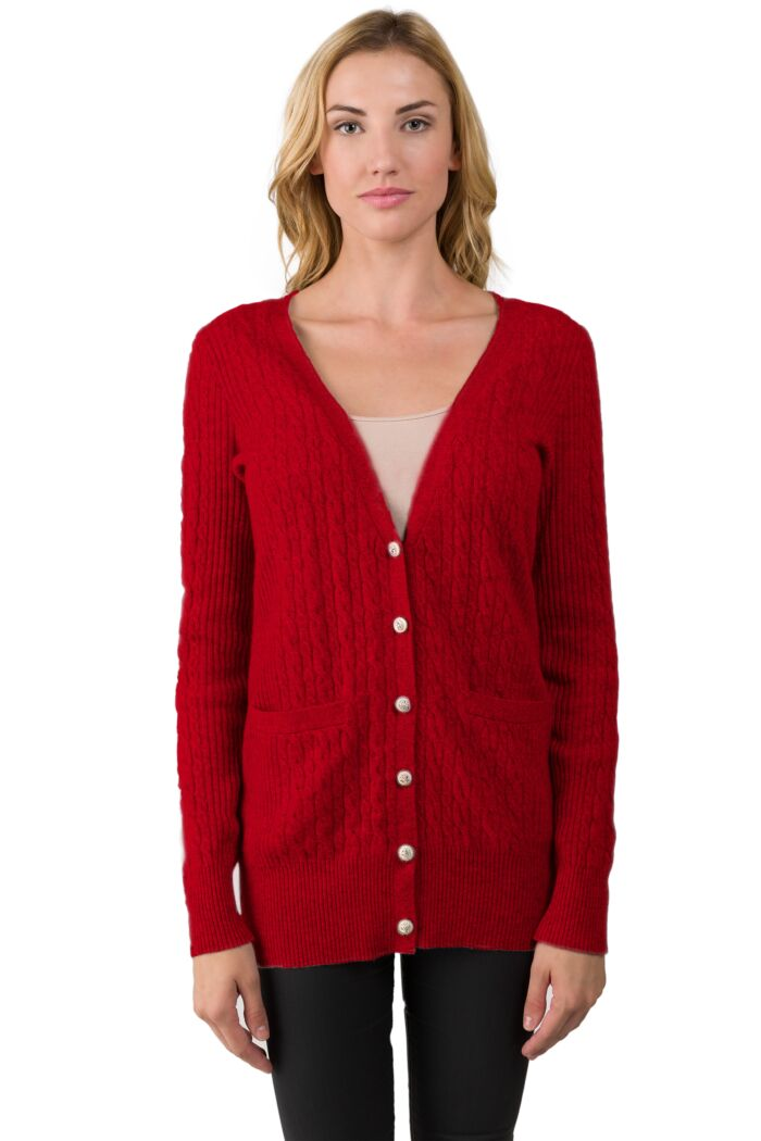 Red Cashmere Cable-knit V-neck Long cardigan Sweater front view
