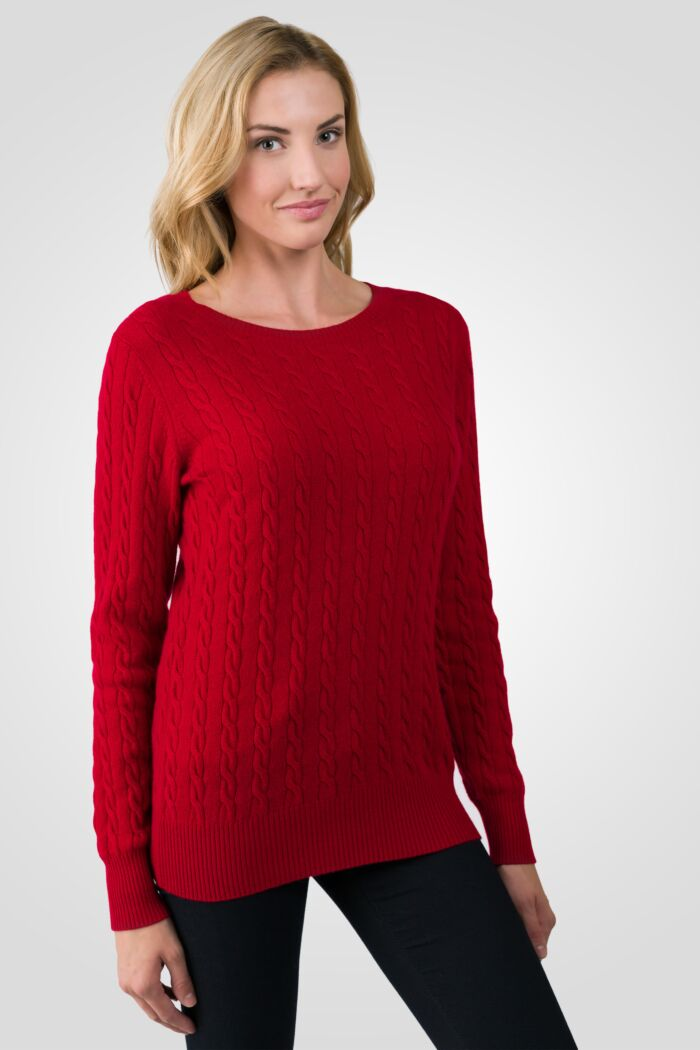 Red Cashmere Cable-knit Crewneck Sweater right side view