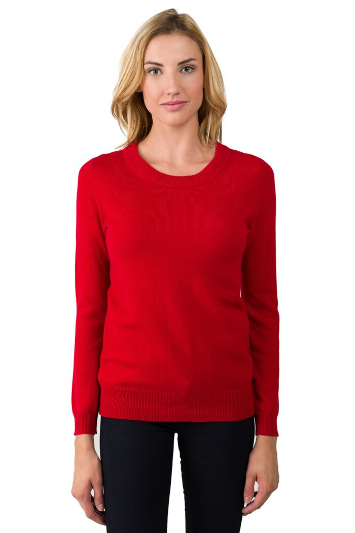 Red Cashmere Crewneck Sweater front view
