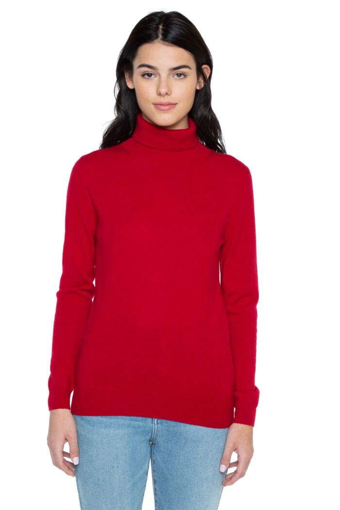 Red Cashmere Long Sleeve Turtleneck Sweater