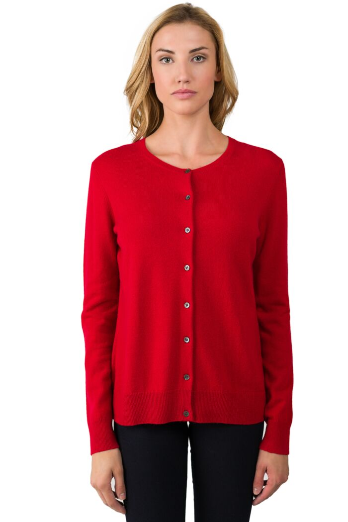 Red Cashmere Button Front Cardigan Sweater front view