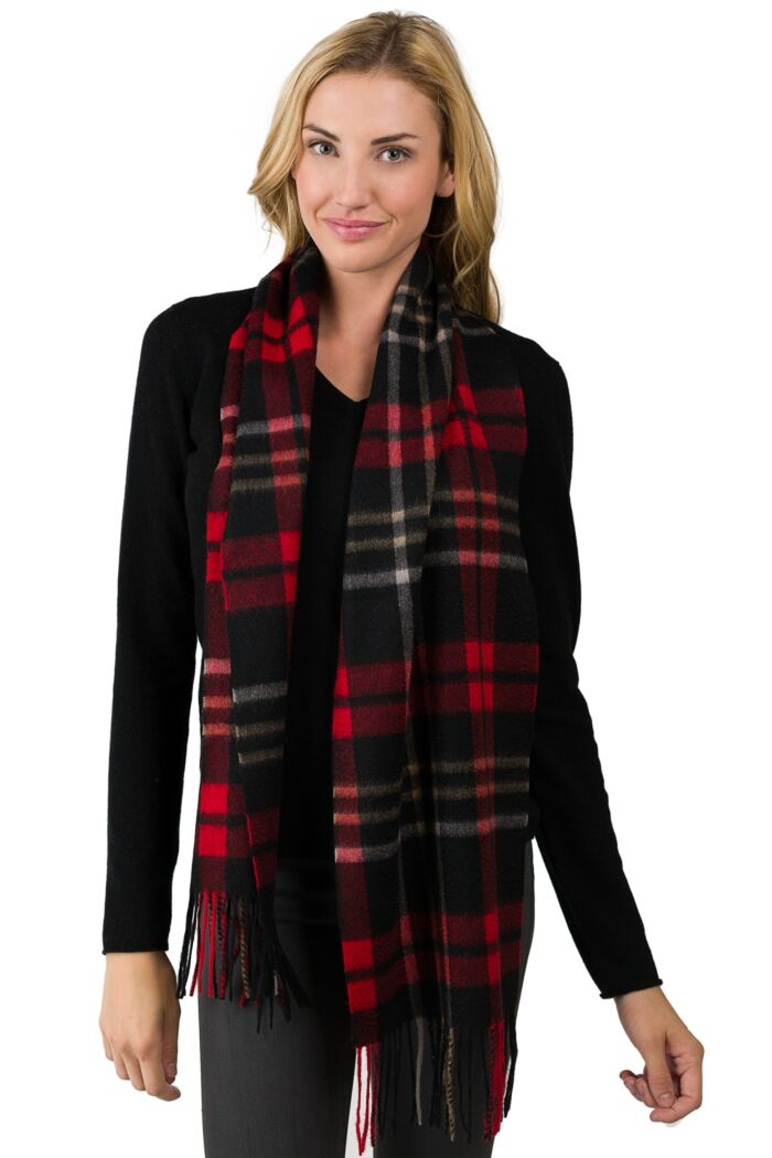 Red Plaid Cashmere Scarf front view