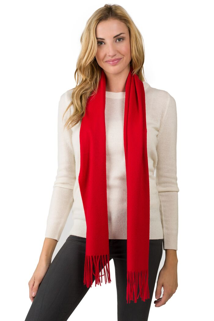 Red Watermark Cashmere Blend Woven Scarf front view