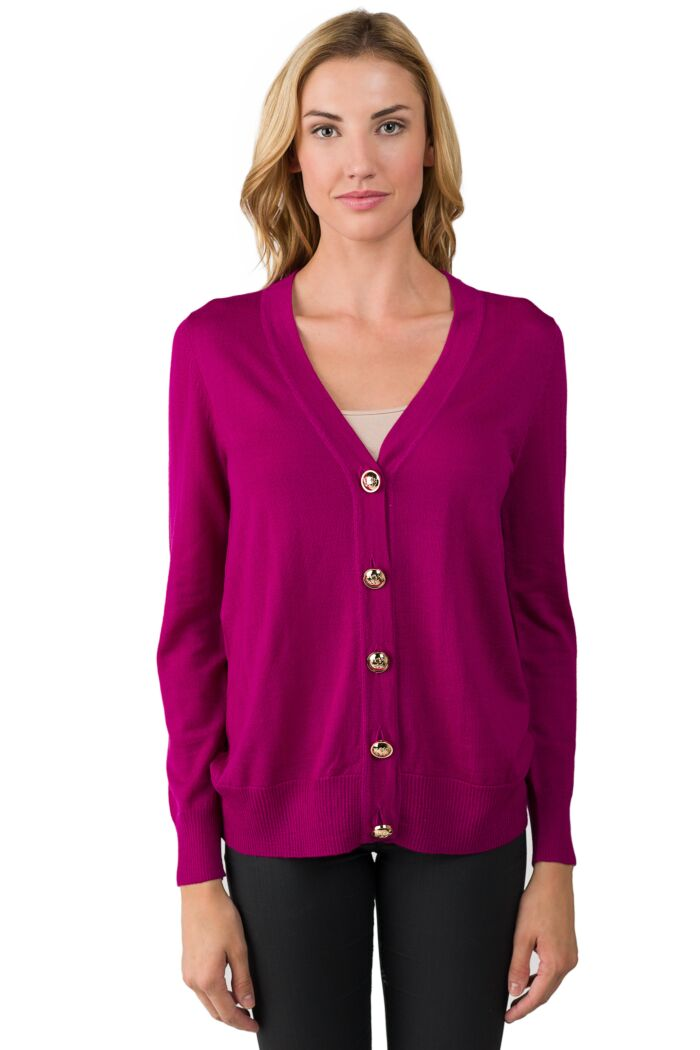 Rose Merino Wool Long Sleeve V Neck Cardigan Sweater Front View