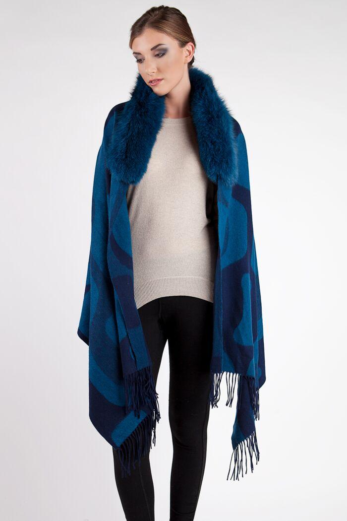 Royal Blue Geo Print Cashmere Wrap