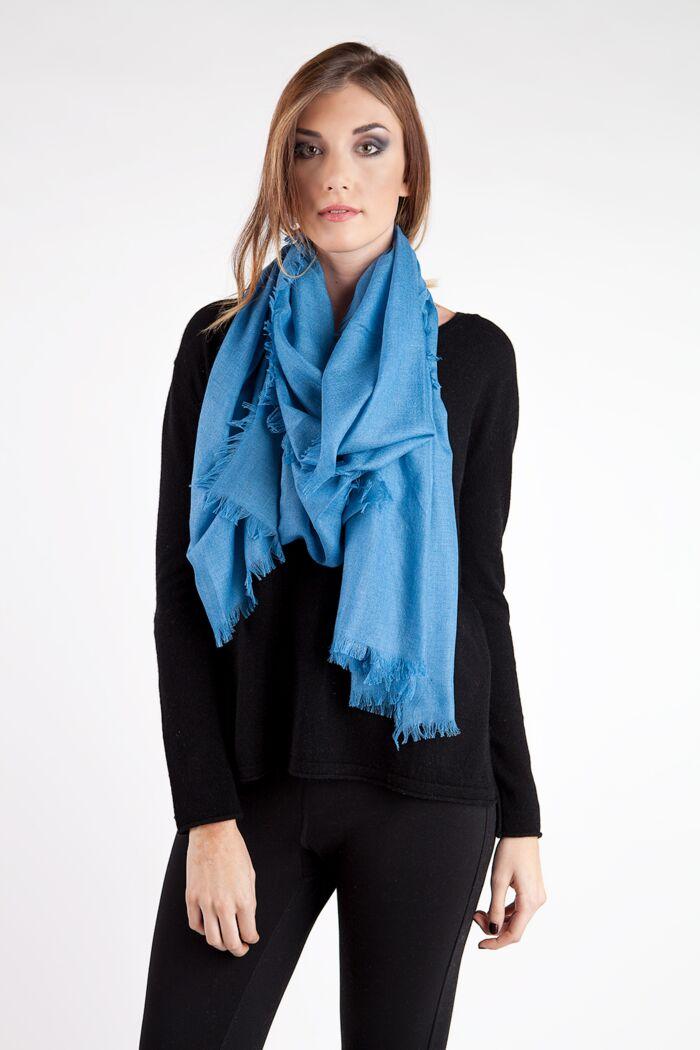 Royal Blue Tissue Weight Silk Cashmere Shawl Wrap