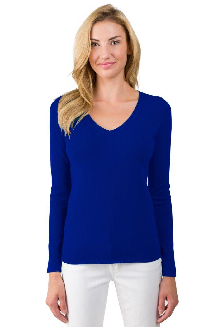 JENNIE LIU Women's 100% Pure Cashmere Long Sleeve Pullover V Neck Sweater(M, RoyalBlue)