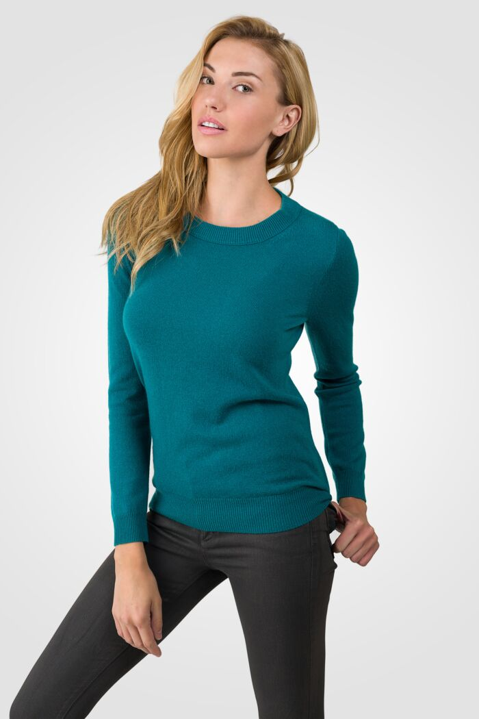 Teal Cashmere Crewneck Sweater left side view