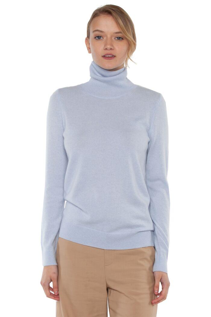 Sky Cashmere Long Sleeve Turtleneck Sweater