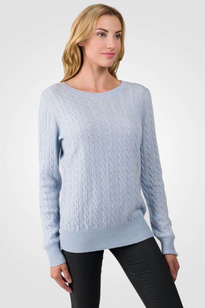 Sky Heather Cashmere Cable-knit Crewneck Sweater right side view