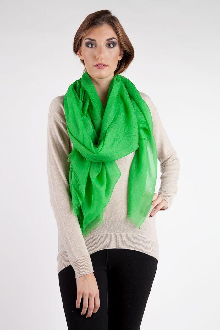 Spring Green Tissue Weight Air Cashmere Shawl Wrap