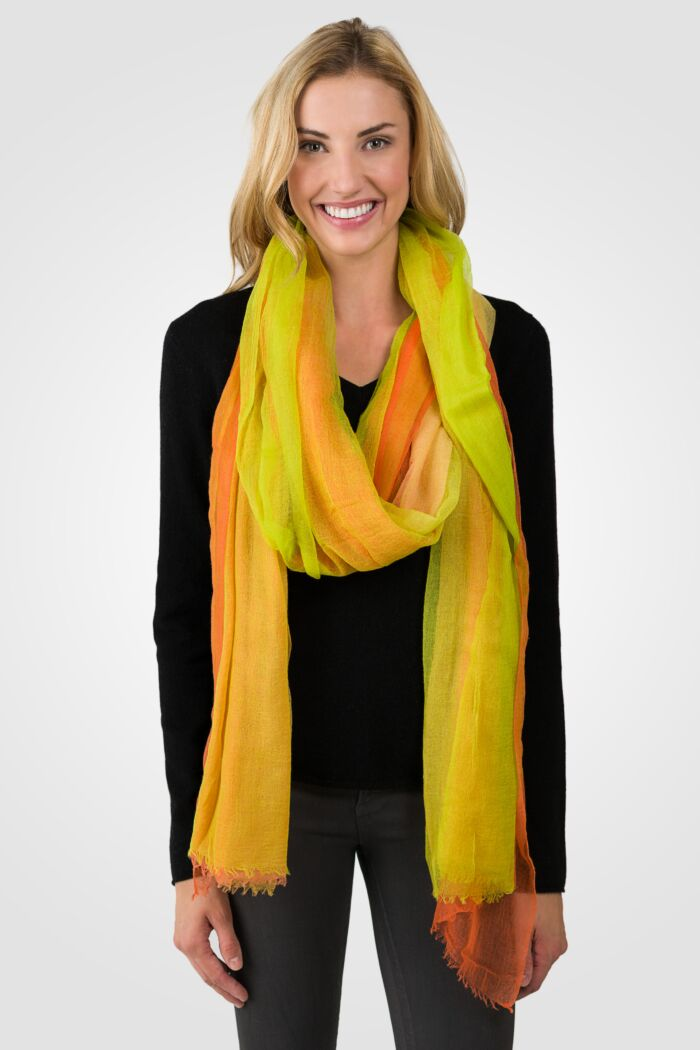 Sunflower Ombre Tissue Weight Air Cashmere Shawl Wrap
