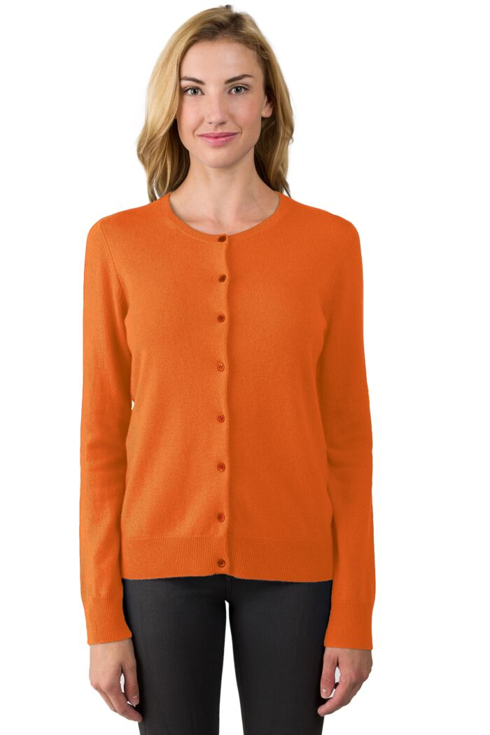 Tangerine Cashmere Button Front Cardigan Sweater