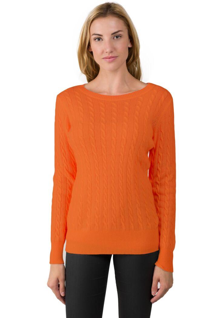 Tangerine Cashmere Cable-knit Crewneck Sweater
