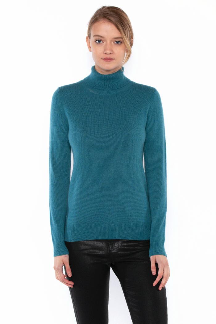 Teal Cashmere Long Sleeve Turtleneck Sweater