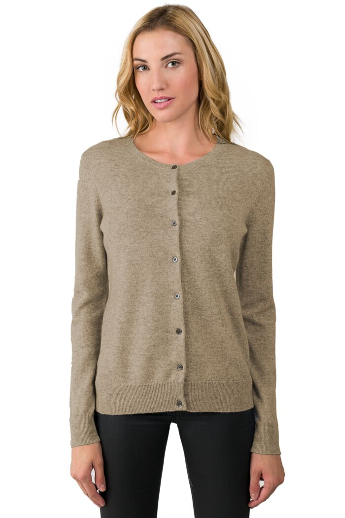 Toffee Cashmere Button Front Cardigan Sweater Front View