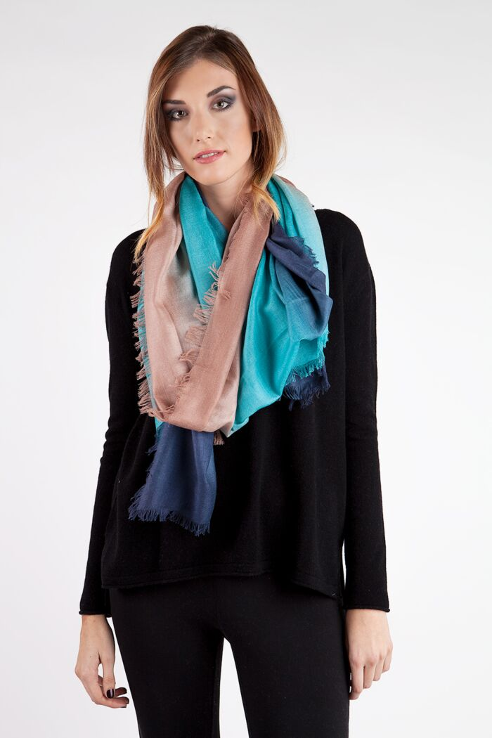 Turquoise Ombre Tissue Weight Silk Cashmere Shawl Wrap