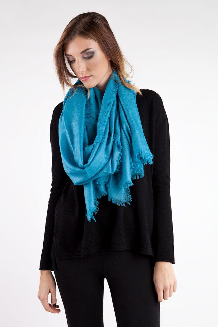 Turquoise Tissue Weight Silk Cashmere Shawl Wrap