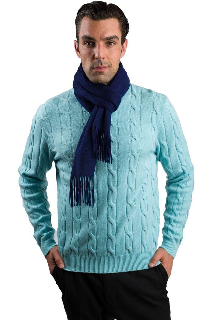 Navy Men's Watermark Cashmere Blend Woven Scarf