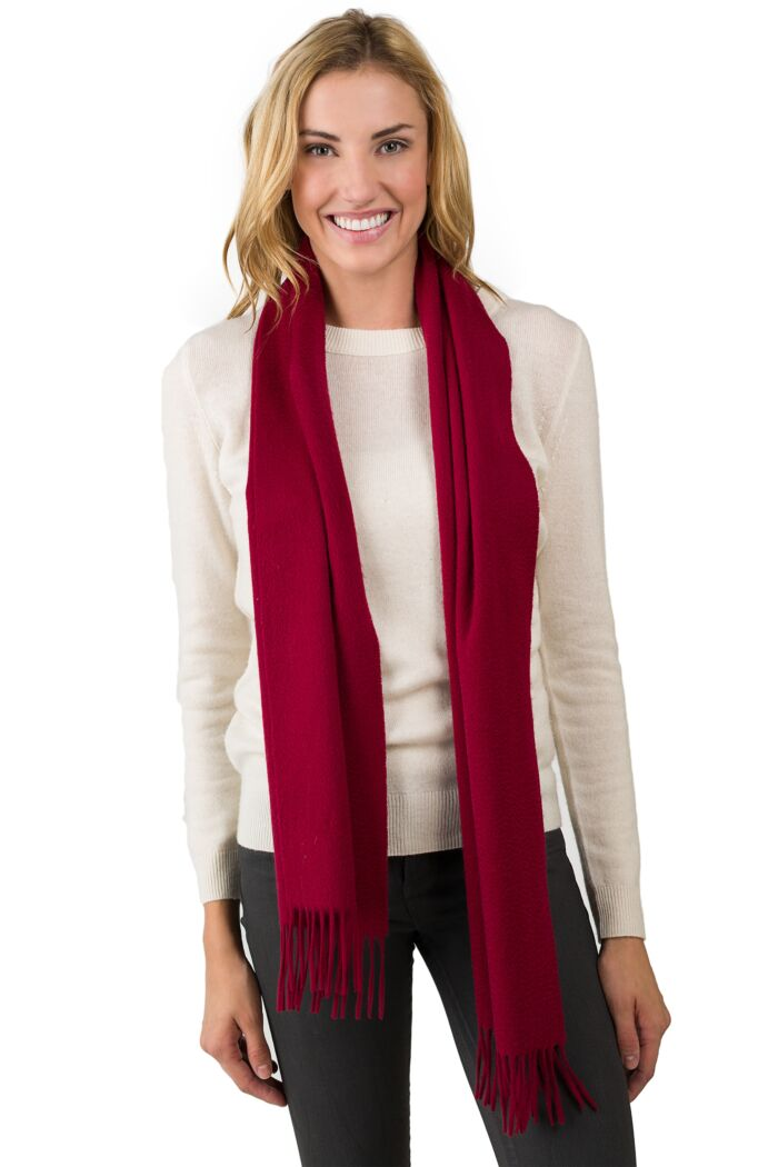 Wine Watermark Cashmere Blend Woven Scarf front view