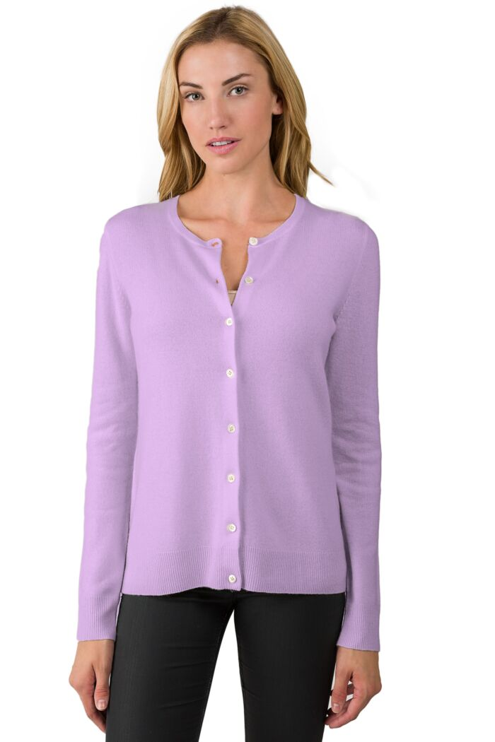 Wisteria Cashmere Button Front Cardigan Sweater Front View