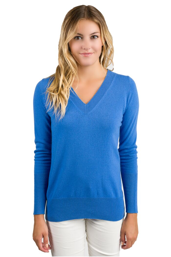 Blue Cashmere Long Sleeve Ava V Neck Sweater Front View