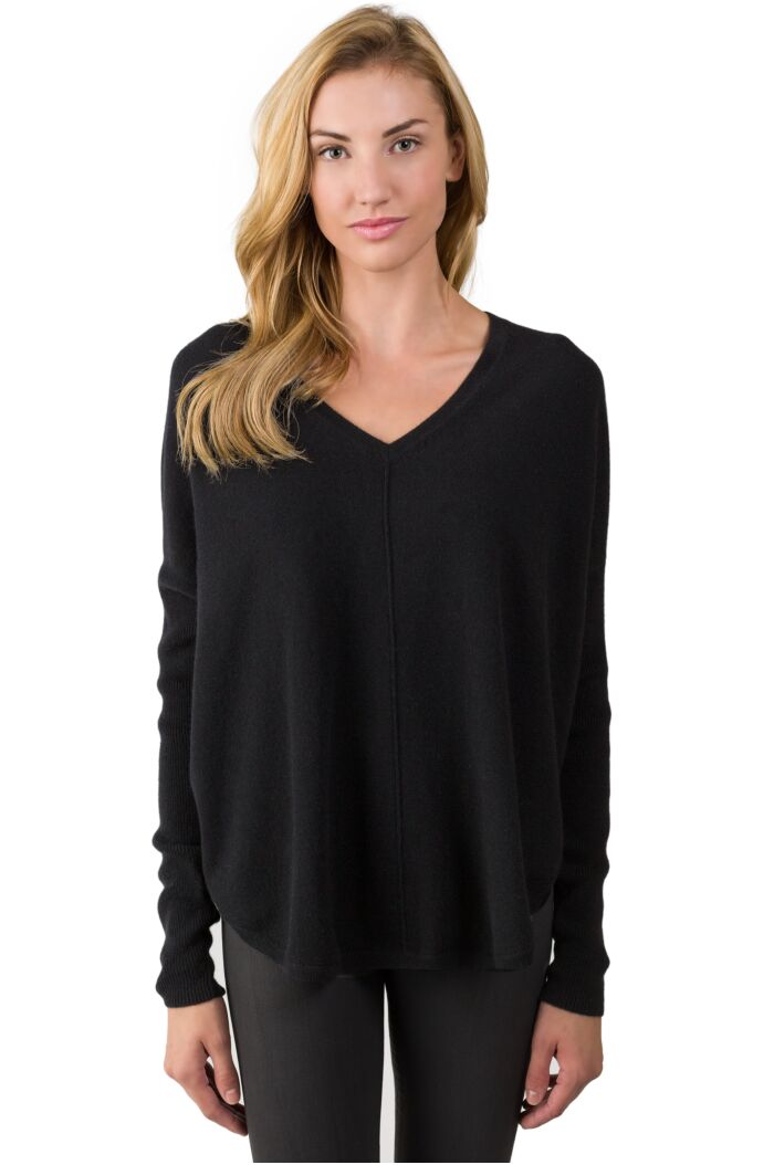 Black Cashmere V-neck Circle High Low Sweater front view