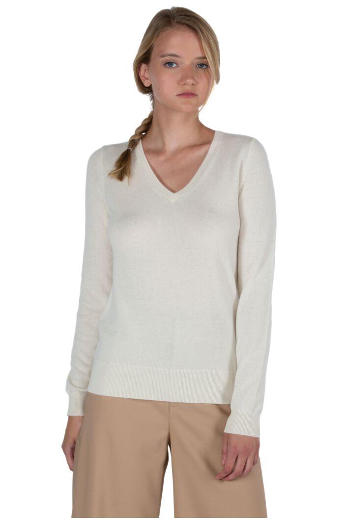 JENNIE LIU Women's 100% Pure Cashmere Long Sleeve Pullover V Neck Sweater