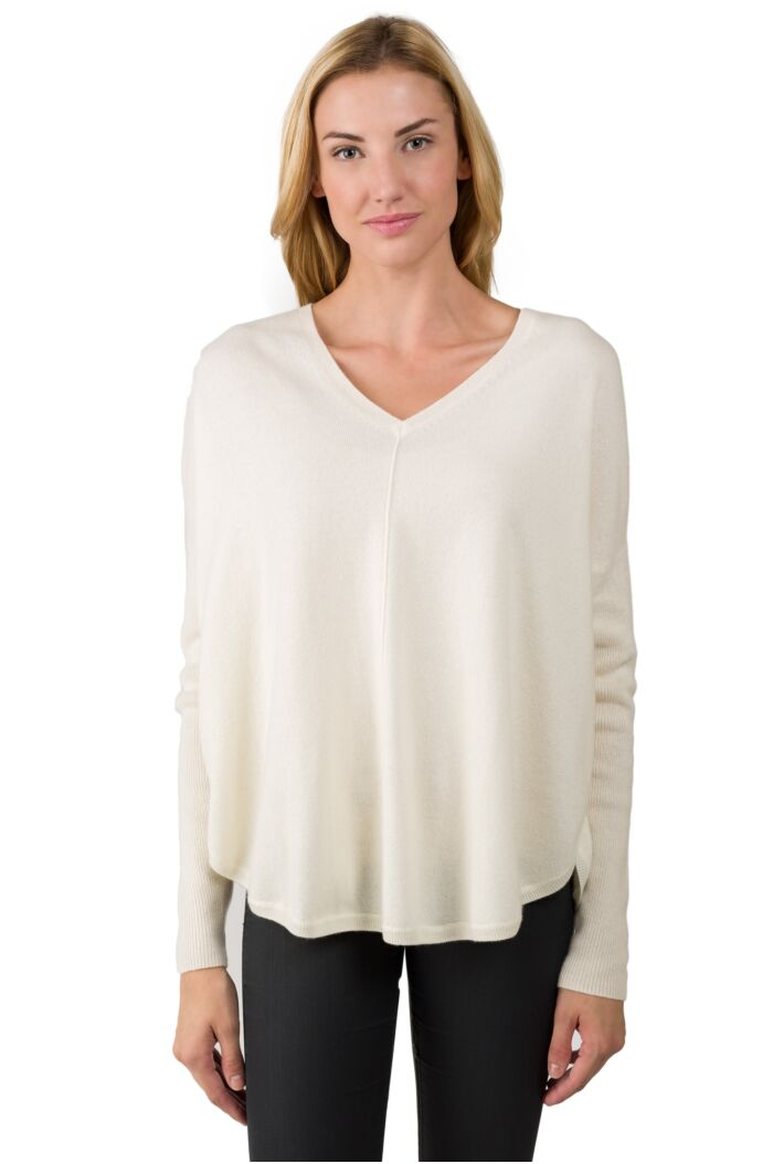 Cream Cashmere V-neck Circle High Low Sweater front view
