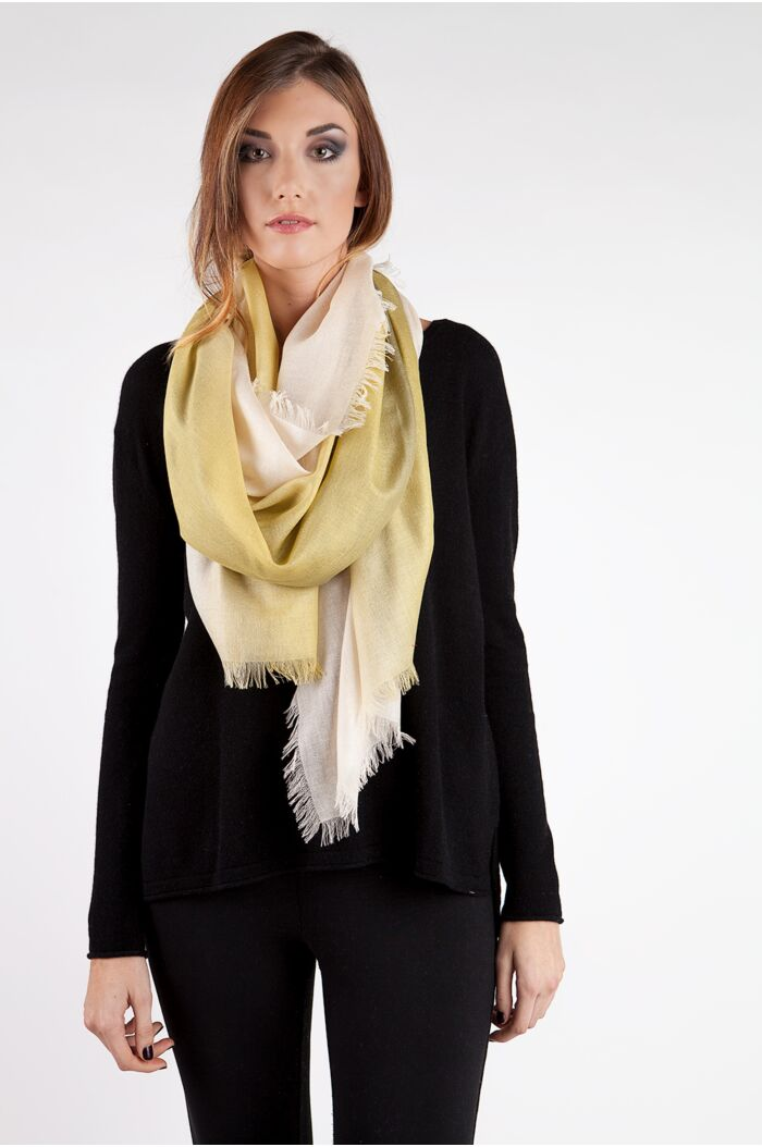 Lemon Ombre Tissue Weight Silk Cashmere Shawl Wrap