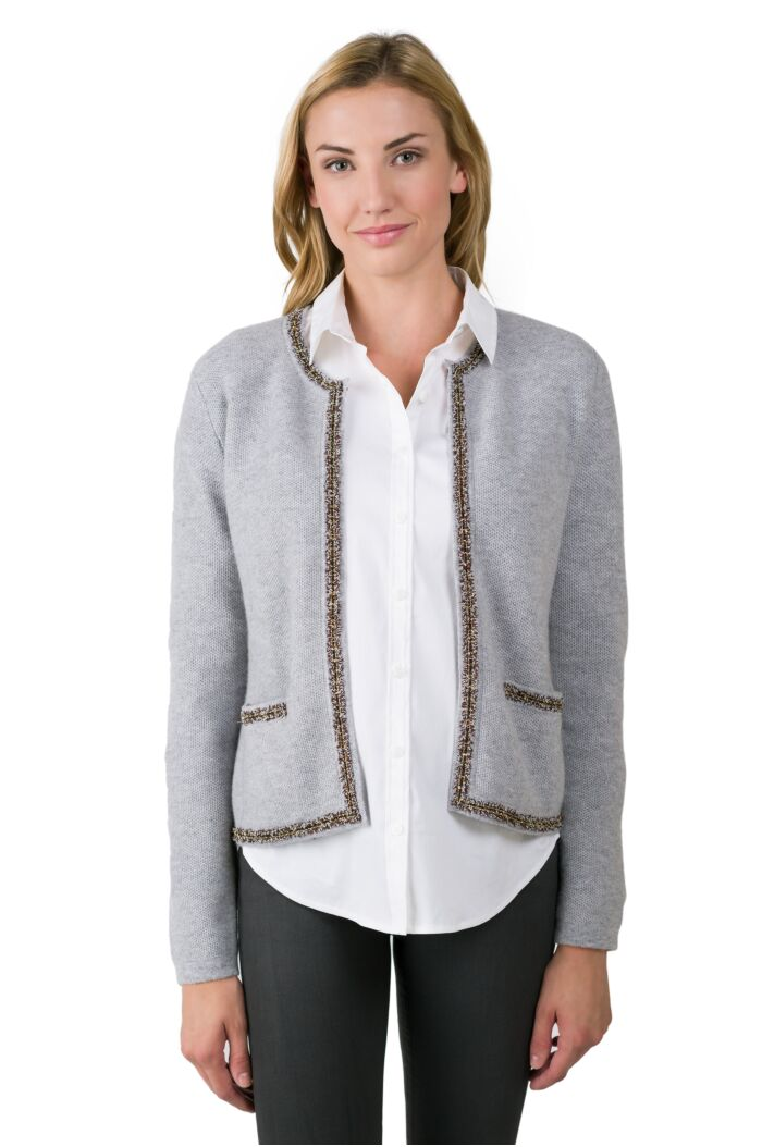 Lt Heather Grey Cashmere Lace-trim Crop Cardigan Sweater front view