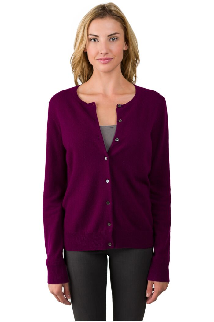 Plum Cashmere Button Front Cardigan Sweater
