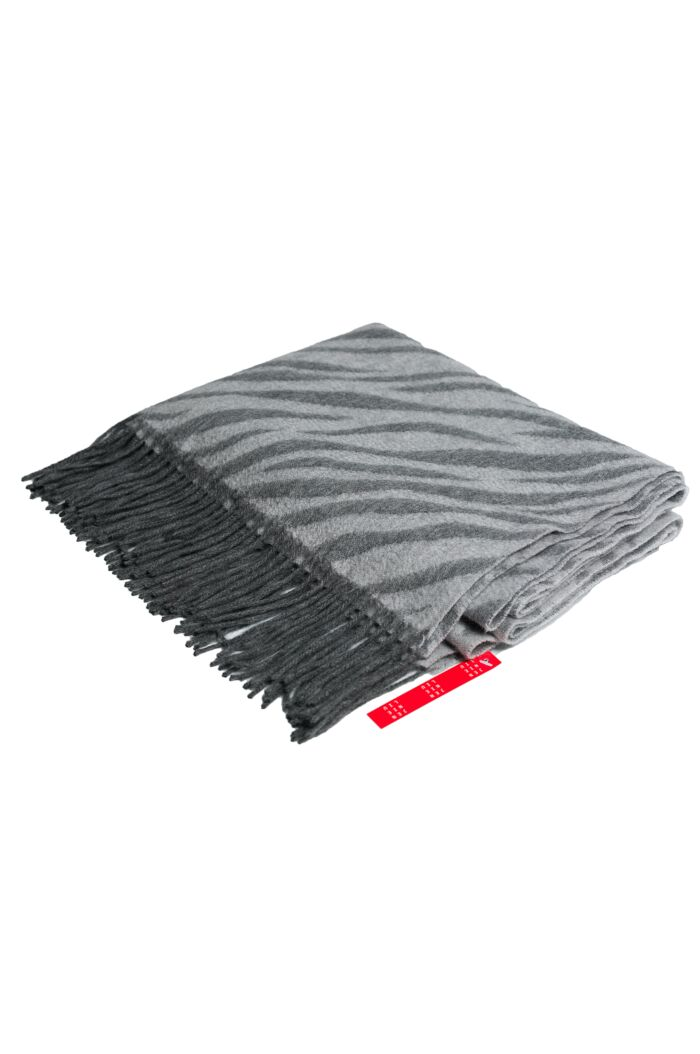 """Grey 72"""" x 30"""" Large 100% Cashmere Zebra Jacquard Shawl"""