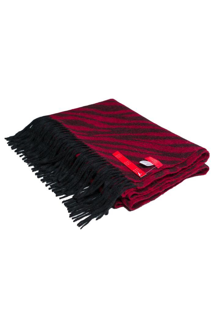 "Red 72"" x 30"" Large 100% Cashmere Zebra Jacquard Shawl"